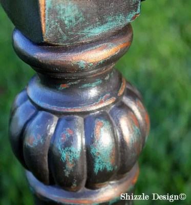 Shizzle Design Painted Furniture Grand Rapids Michigan black teal chalk clay paints console table CeCe Caldwell's Beckley Coal American Paint Company's Dark Antiquing Wax 4