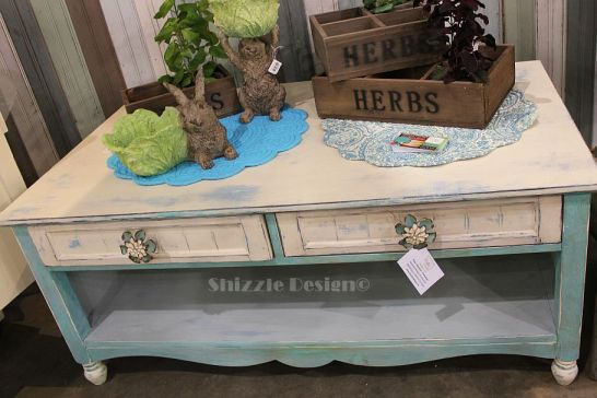 1 turquoise blue white chalk clay coffee table shizzle design west michigan american paint company DeVos Place
