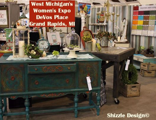 2014 Michigan's Expo Shizzle Design painted furniture American Paint company chalk clay Paints 2018 Chicago Dr Jenison, MI  49428 DeVos Grand Rapids antique blue buffet - Copy - Copy - Copy
