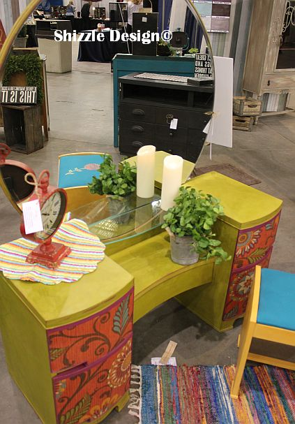 2014 West Michigan's Women's Expo Shizzle Design painted furniture American Paint company chalk clay mineral Paints 2018 Chicago Dr Jenison, MI  49428 DeVos retro whimisical vanity