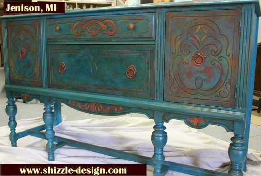 American Paint Company's Peacock hand painted antique buffet Shizzle Design 2018 Chicago Drive Jenison MI  49428 www.shizzle-design.com teal layers 1
