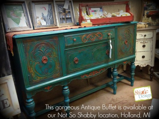 American Paint Company's retailer where to buy Peacock chalk clay painted antique buffet Shizzle Design 2018 Chicago Drive Jenison MI  49428 www.shizzle-design.com teal