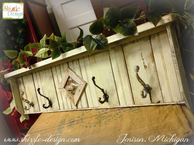 Christmas 2014 Coat Rack hooks reclaimed wood American Paint Company Retailer Shizzle Design Chalk paint supplies painted furniture MI classes 2