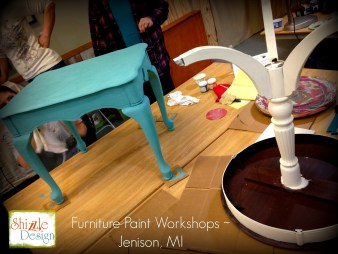 Learn how layer Chalk Paint colors DIY ideas inspiration Shizzle Design painted furniture makeovers workshops best class Grand Rapids Michigan American Paint Company blue table