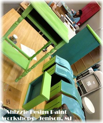 Learn how layer chalk clay paint colors DIY ideas inspiration Shizzle Design painted furniture makeovers workshops best class Jenison Michigan American Paint Company blue green 2
