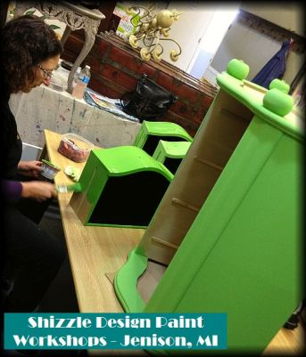Learn how layer chalk clay paint colors DIY ideas inspiration Shizzle Design painted furniture makeovers workshops best class Jenison Michigan American Paint Company blue green