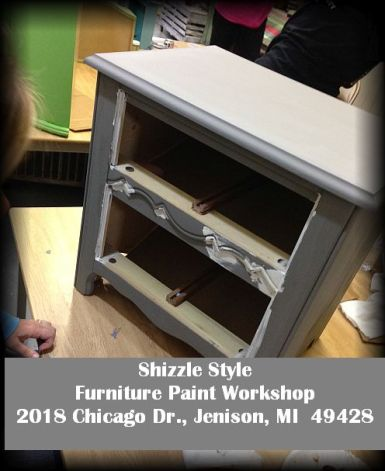 Learn how to layer chalk clay paint colors DIY ideas inspiration Shizzle Design painted furniture makeovers workshops best class Jenison Michigan American Paint Company 11