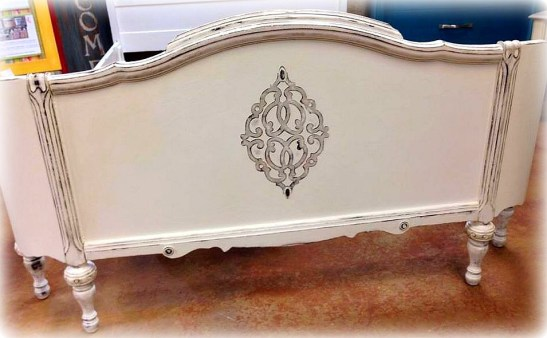 Shizzle Design Antique Bed American Paint Company's Navajo White Rushmore Clear Wax Holland Michigan chalk clay paint Footboard 2