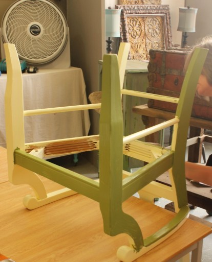 Learn how layer Chalk Paint colors DIY ideas inspiration Shizzle Design painted furniture makeovers workshops best class Grand Rapids Michigan American Paint Company chair Nana's