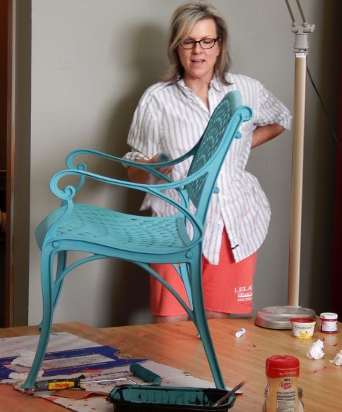 Learn how layer chalk clay paint colors DIY ideas inspiration Shizzle Design painted furniture makeovers workshops best class Jenison Michigan American Paint Company teal bench