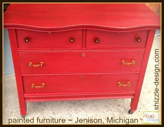 Firework's Red - Curved Oak Dresser shizzle design chalk paint ideas painted furniture michigan Shizzle Design 6