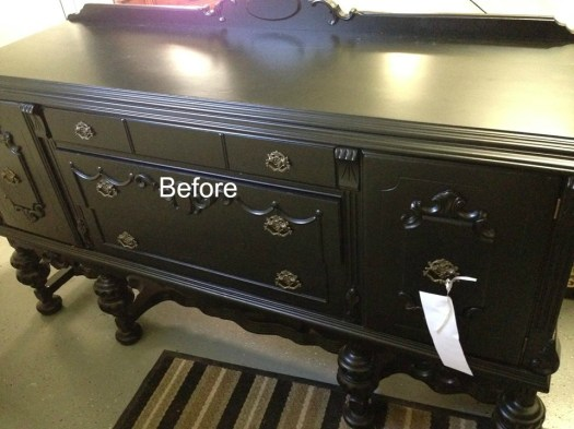 black lacquer buffet sideboard before