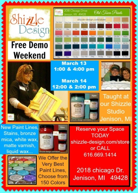 fREE PAINT DEMO WEEKEND SHIZZLE DESIGN march 13 14 2018 chicago drive jenison mi paint studio best new chalk mineral paints on the market white wax, bronze mica,