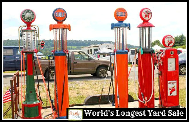 #worldslongestyardsale 2013 Shizzle Design #paintedfurniture #americanpaintcompany #CeCecaldwell #paint Kentucky Hwy 127 sale gas pumps