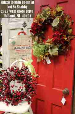 Shizzle Design Painted Furniture 2018 Chicago Drive Jenison Michigan 49428 Christmas Decor red door, shabby white door chair