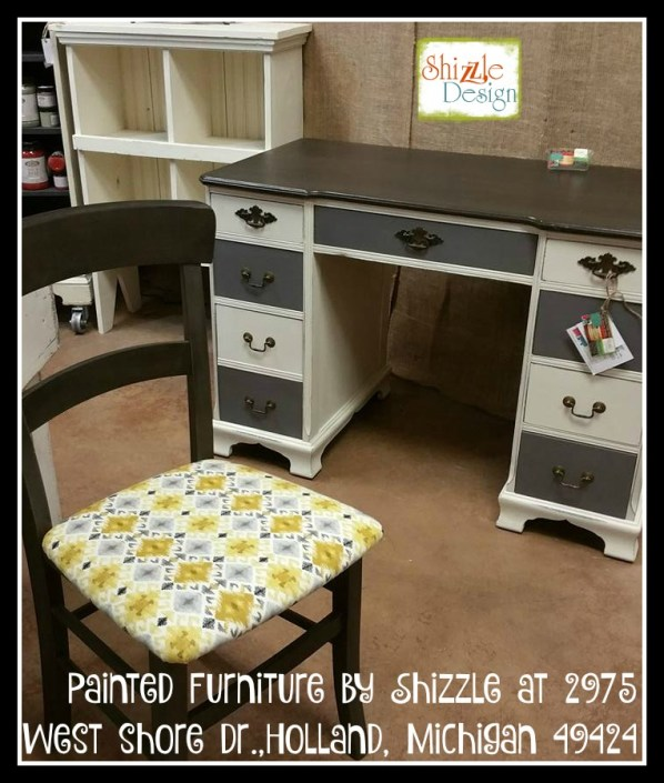 antique desk Faux Real leather finish carbone Bella dark wax chalk paint Shizzle Design Grand Rapids Michigan painted furniture gray white 2