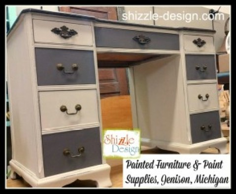 antique desk Faux Real leather finish carbone Bella dark wax chalk paint Shizzle Design Grand Rapids Michigan painted furniture gray white sold