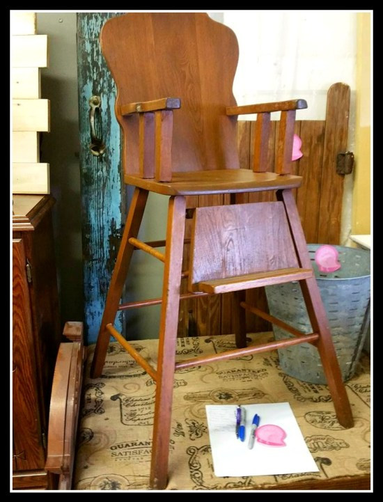 vintage antique wooden high chair