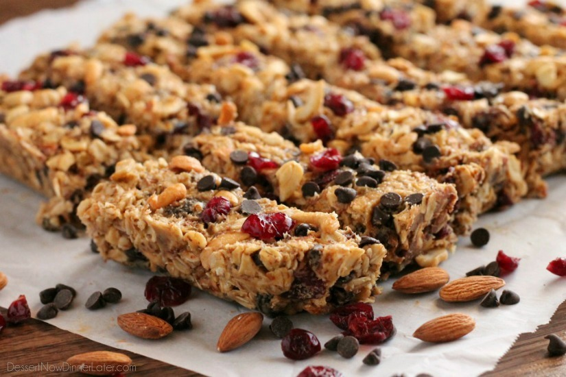 these peanut butter chocolate trail mix granola bars are made with wholesome ingredients to create homemade