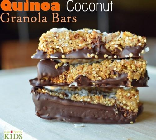 Quinoa Coconut Granola Bar Recipe. Our kids already love granola bars, but once you add quinoa, your kids also get fiber and protein!