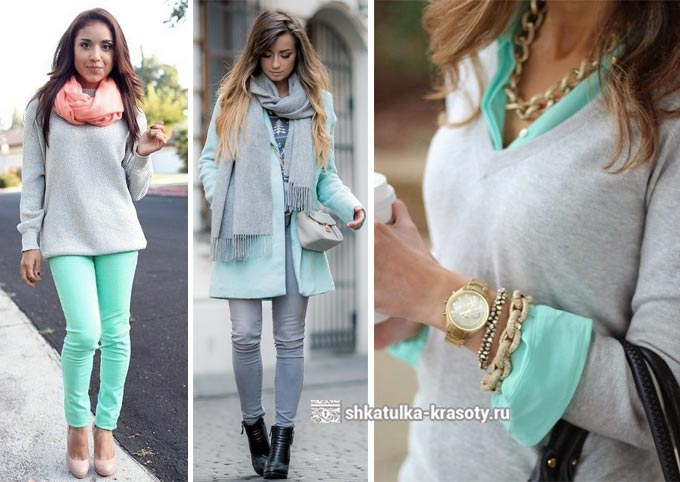 kombinasi mint dan abu-abu dalam pakaian