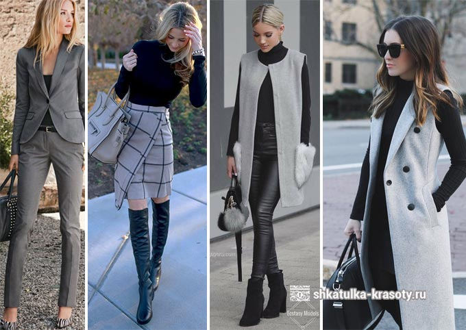 Kombinasi abu-abu dan hitam dalam pakaian