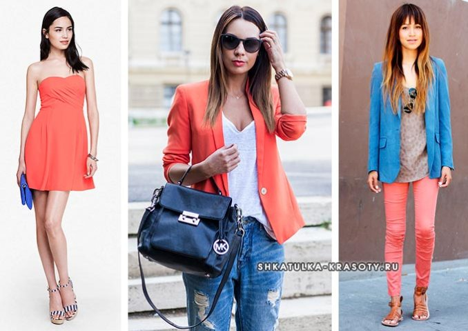 coral color in clothing in combination with denim