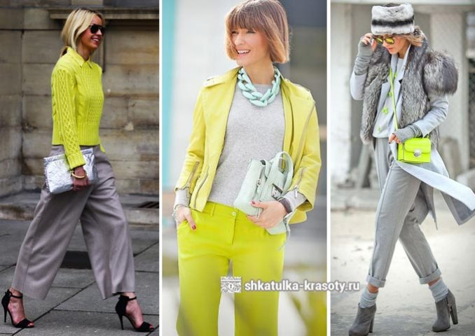 a combination of light green and gray in clothes