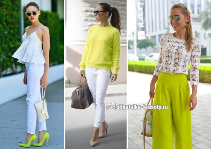 The combination of colors in clothes lime 3