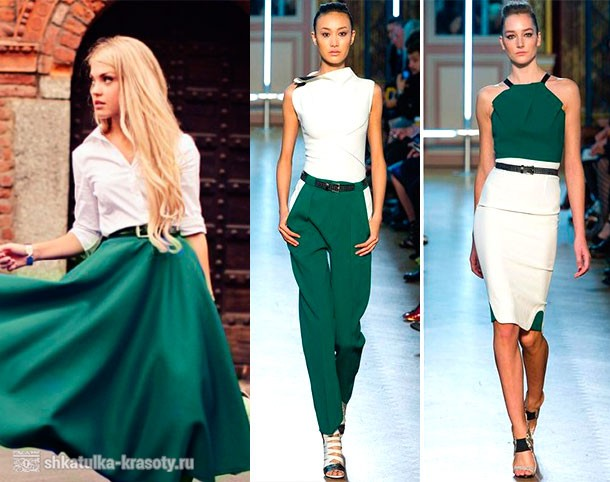 The combination of emerald color in clothes