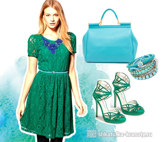 combination of emerald color in clothes