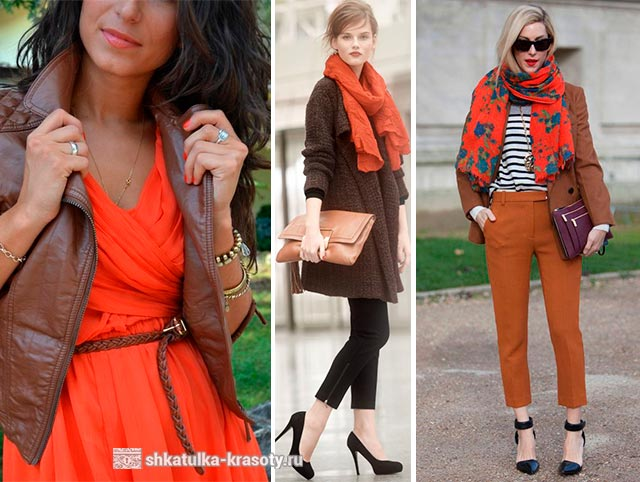 color combination in clothes orange