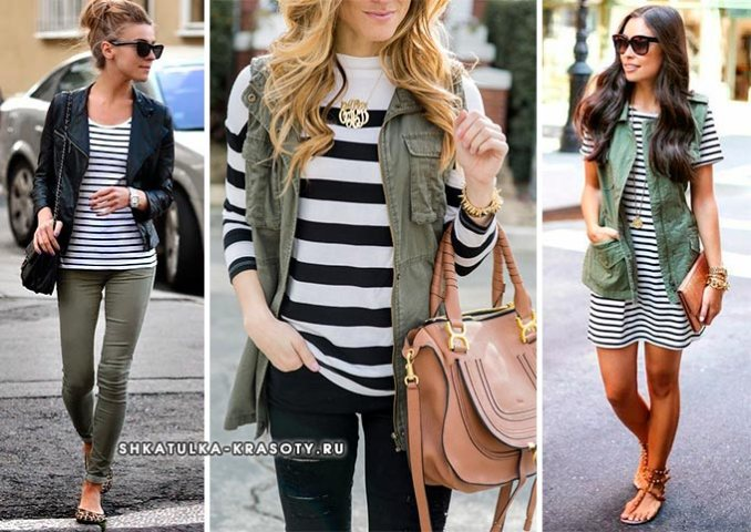 a combination of khaki and black and white stripes