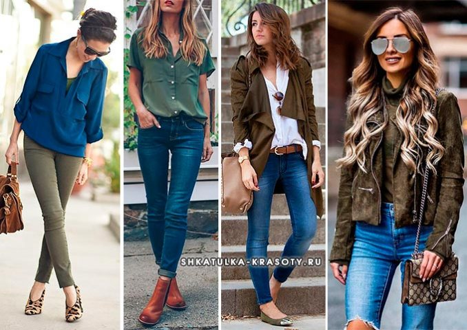 colors combined with khaki in clothes photo