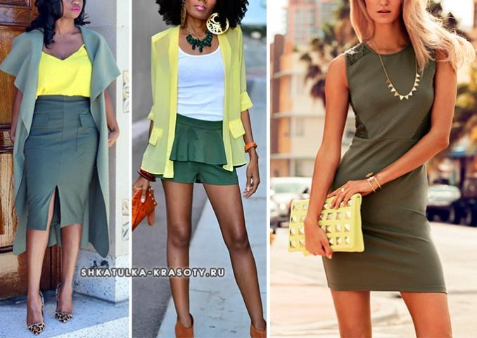 khaki combined with yellow in clothes