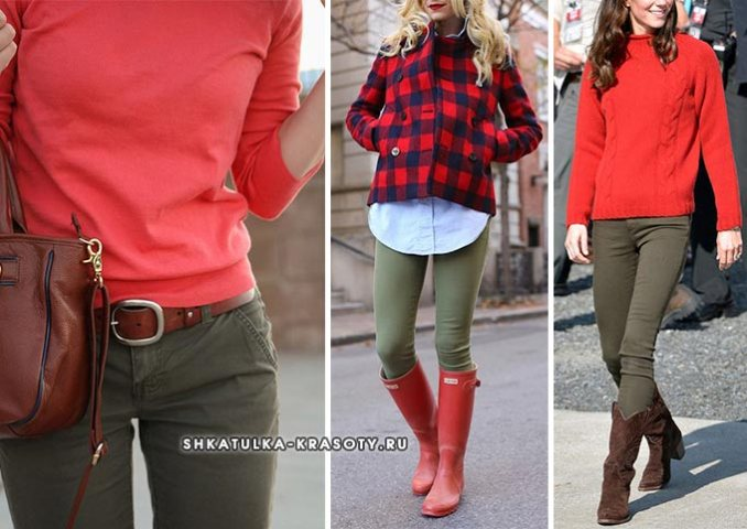 khaki combined with red in clothes