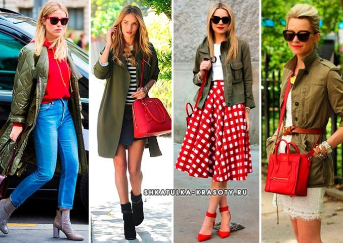 khaki with red in clothes