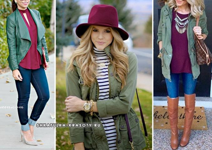 khaki in combination with other colors in clothes