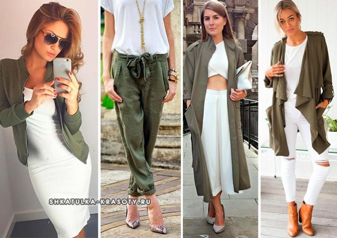 khaki combination with white in clothes