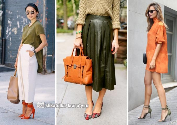 Khaki in combination with orange in clothes