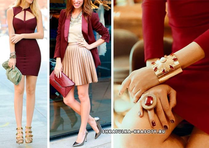 burgundy and gold color in clothes