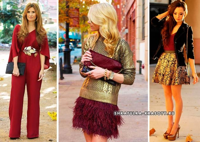 golden and burgundy color in clothes