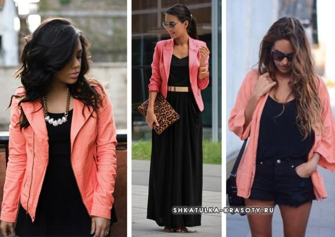 color combination in coral and black clothes