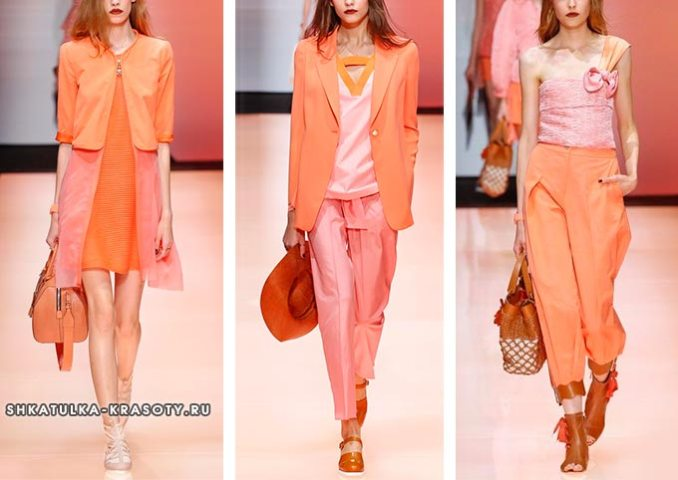The combination of colors in clothes coral and pink
