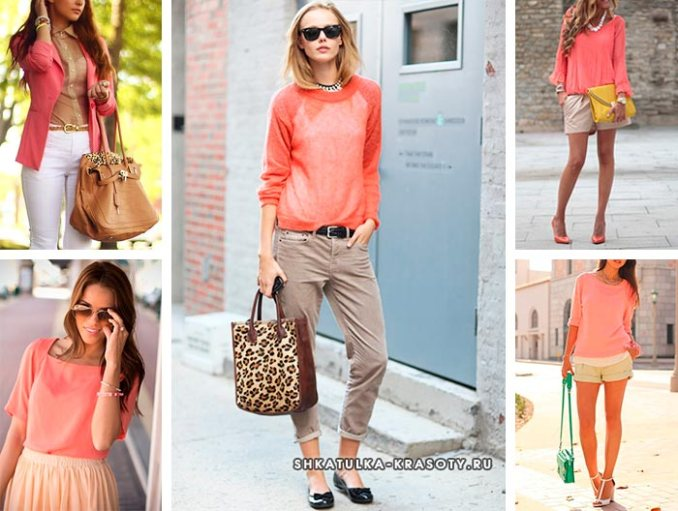 combination of coral color in clothes with beige or brown