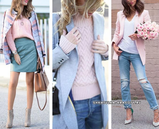 GRAY-BLUE (serenity) color in clothes - combination 2