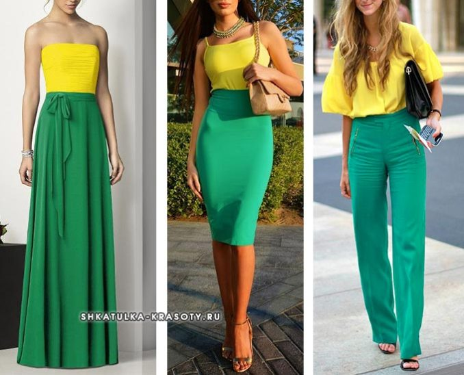 a combination of yellow and green