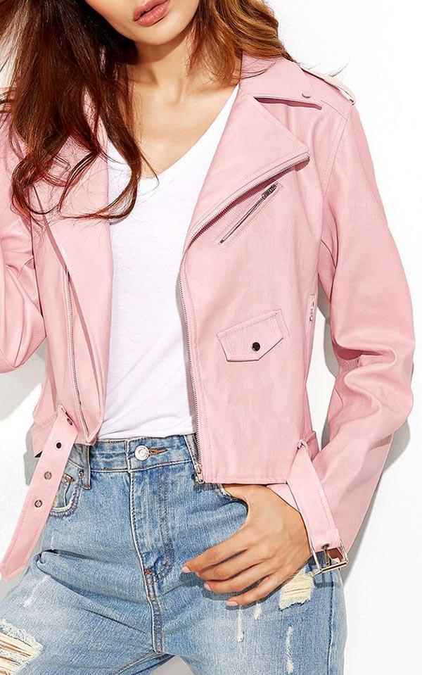 Как и с чем носить розовую кожаную куртку - фото 2020