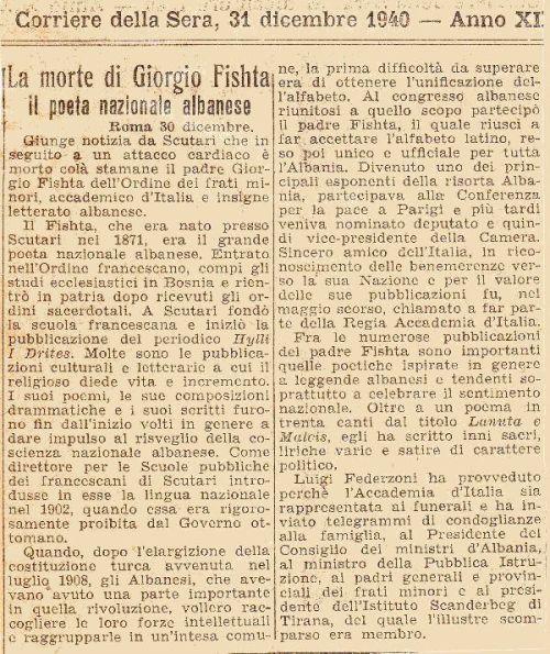 At Gjergj Fishta (1871-1940) - Corriera della Sera shkruan për vdekjen