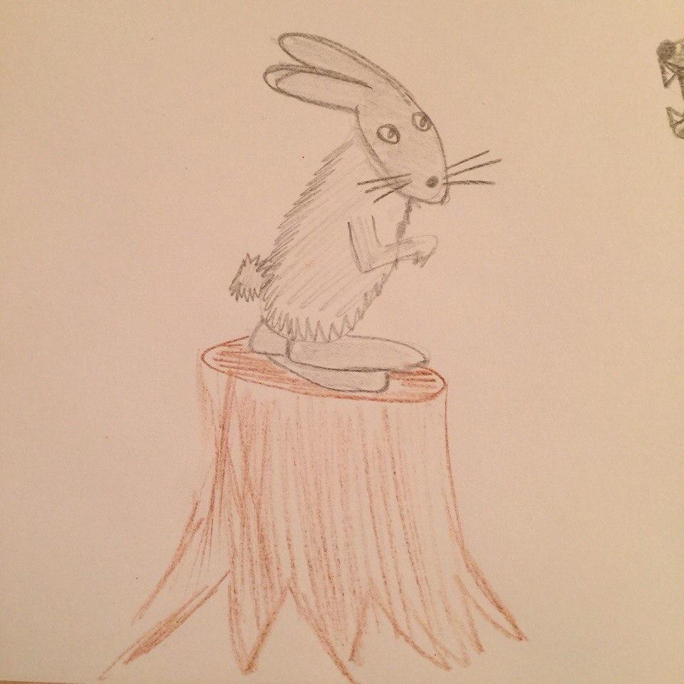 заяц на пеньке рисунок блохи являются крайне